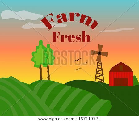 Farm fresh. Farm landscape, evening. Vector illustration.