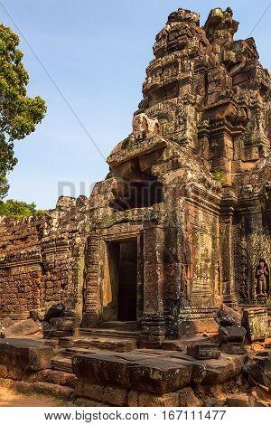 One of gateways of gopura at Ta Som temple, Angkor, Cambodia