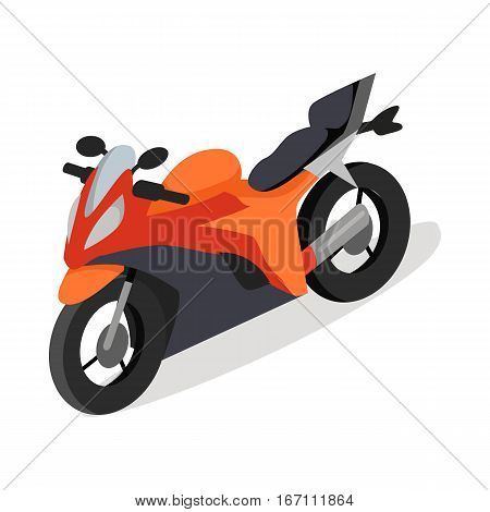Sport bike isometric projection icon. Red speed motorcycle vector illustration isolated on white background. Race  motorbike. For game environment, transport infographics, logo, web design