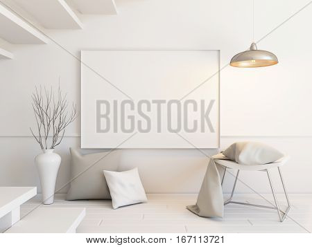 Interior mockup illustration with decor, 3d render, white wall with blank board
