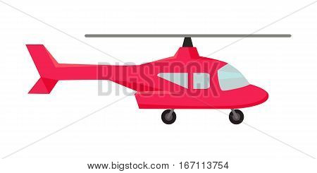 Red fly helicopter icon. Helicopters fly air transportation and sky rotor helicopters. Helicopters travel aviation propeller. Isolated object in flat design on white background.