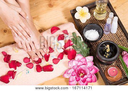 female feet spa, concept of spa massage