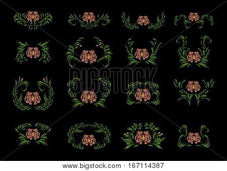 Beautiful Border With Flowers In Vintage Style