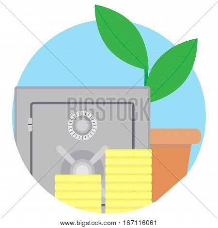 Safety deposit box contribution growth icon vector. Stack of gold coin growth finance cash illustration