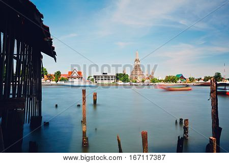 Boats on Chao Phraya River in Bangkok city Thailand