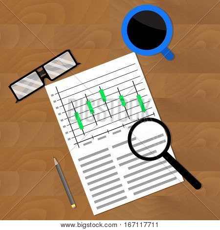 Market analysis vector. Commerce trend stock investment strategy illustration