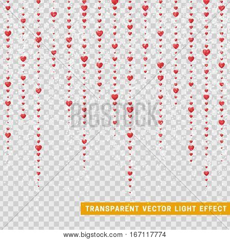 Valentines Day background of red hearts petals falling. Symbol of love for the label gift packages. Decor pink design element for greeting cards. Transparent vector effect