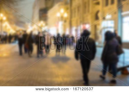 Blurred Image Of People Walking On Arbat Street At Night