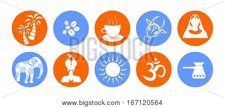 set of icons in the style of a flat design on the theme of india.
