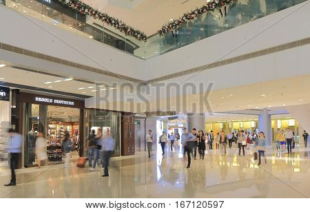 HONG KONG - NOVEMBER 8, 2016: Unidentified people visit IFC shopping mall.