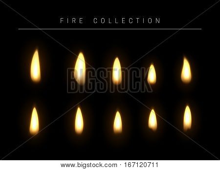 Realistic fire flame isolated light effect. Open yellow fire gas. Bright red magic realistic