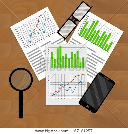 Business analyst annual report. Marketing report and workspace with graph and chart analysis vector illustration