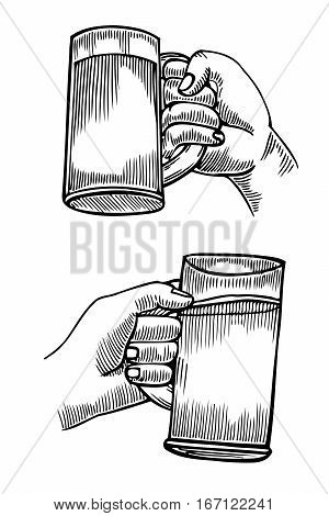 Hand holding a full glass of beer, vector illustration sketch by hand, isolation on a white background male hand with a mug of foamy golden beer, the concept of time to drink alcohol