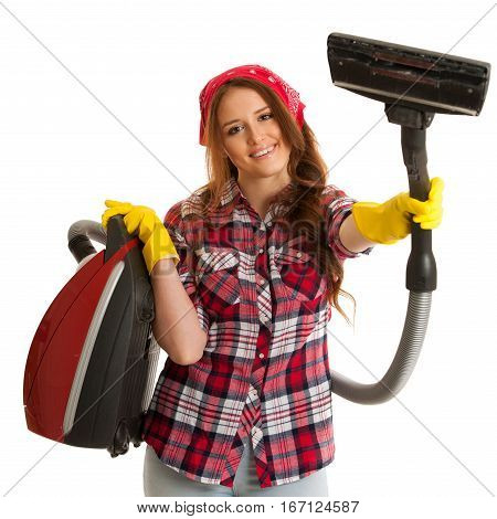 Happy Woman Cleans With Vacuum Cleaner Isolated Over White Background