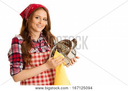 Young Woman Wipes A Pot Isolated Over White Background