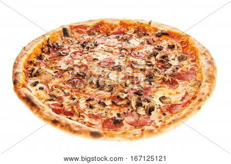 Delicious Classic Italian Pizza Carbonara With Ham, Sausages Tomatoes, Mushrooms And Cheese