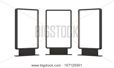Illuminated blank billboards with copy space for your content, advertising mock up banner. 3D illustration