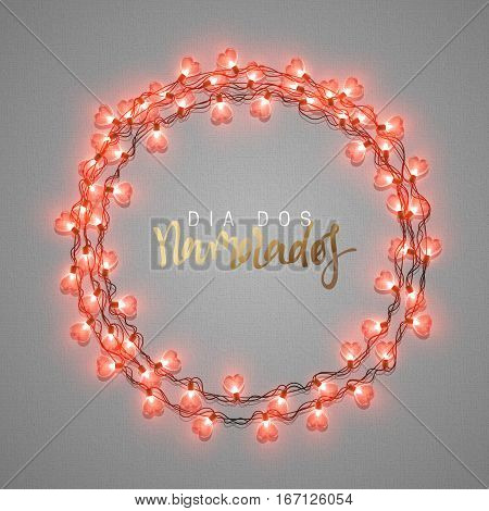 Happy Valentines Day. lettering French Inscription handmade. Dia dos Namorados. Glowing Lights Wreath love Holiday. Greeting Cards Design Bright retro background. Garlands decoration red hearts