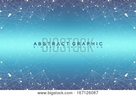 Big data complex. Graphic abstract background communication. Perspective backdrop of depth. Minimal array with compounds lines and dots. Digital data visualization. Vector illustration