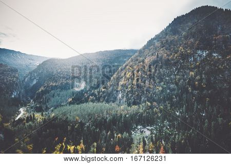 Mountains and Forest Landscape aerial view trees background Travel serene scenery autumn season