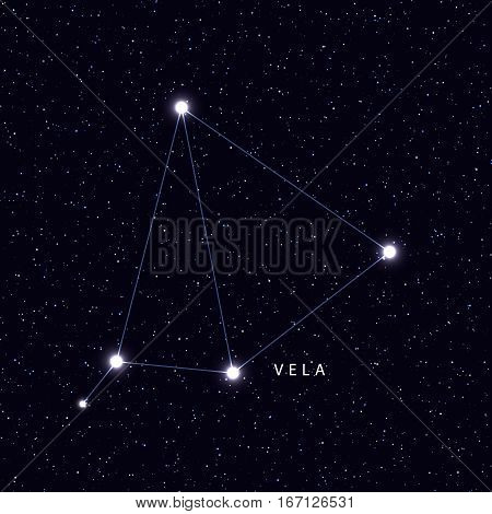 Sky Map with the name of the stars and constellations. Astronomical symbol constellation Vela