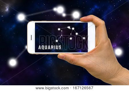 Augmented Reality, Ar, Of Aquarius Zodiac Constellation App On Smartphone Screen Concept