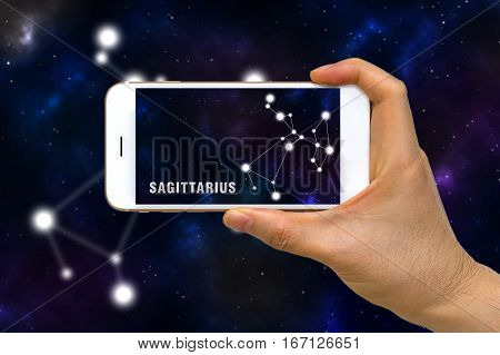 Augmented Reality, Ar, Of Sagittarius Zodiac Constellation App On Smartphone Screen Concept