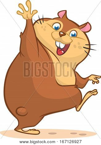 Groundhog day with smiling marmot waving hand isolated background. Cartoon vector illustration.