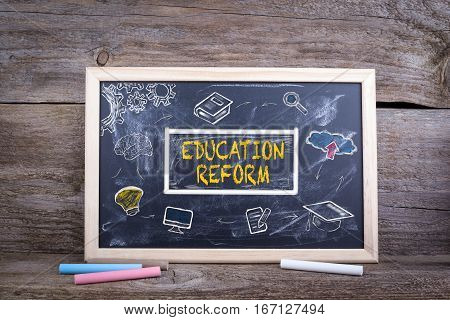 Education Reform on blackboard. Knowledge Education study Learning Concept.