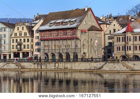 Zurich, Switzerland - 27 January, 2017: historical part of city and the Limmat river in wintertime. Zurich is the largest city in Switzerland and the capital of the Swiss canton of Zurich.