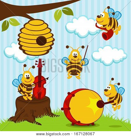 cheerful bee musical  Orchestra - vector illustration
