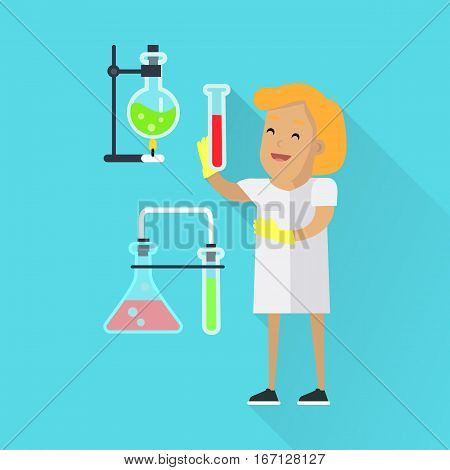 Scientists woman in white robe at work. Scientist chemist holding test tube. Scientists in chemical lab with tubes and flasks. Science and technology development, scientific research, lab research.