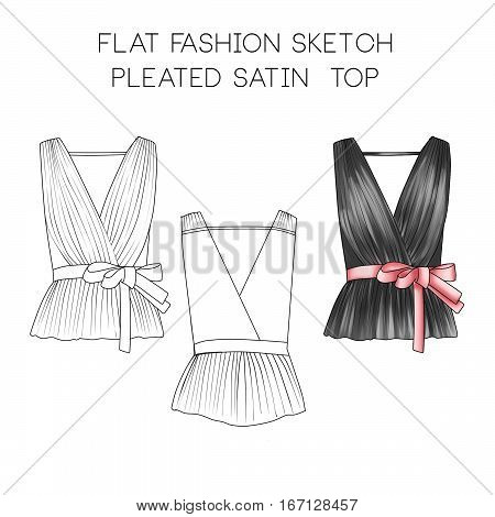 Flat fashion sketch - pleated satin top