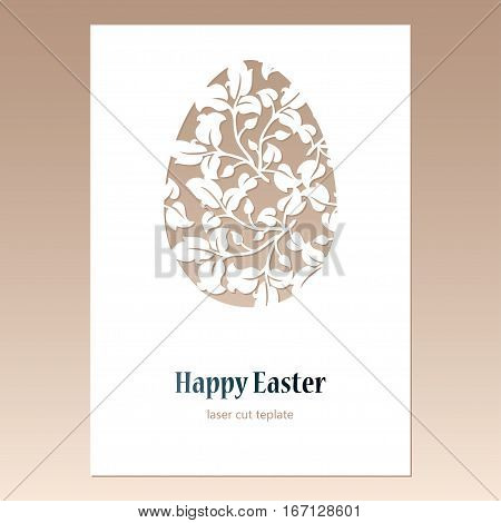 Card with openwork Easter egg with leaves and space for text. Laser cutting template for greeting cards envelopes invitations decorative elements.