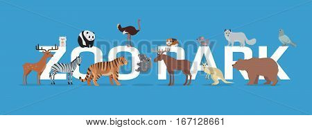 Zoo park with animals banner isolated. Elk zebra hamster tiger panda ostrich deer beaver kangaroo mouse wolf bear dove. Zoo advertisement poster. Different animals in the zoo. Vector in flat style.