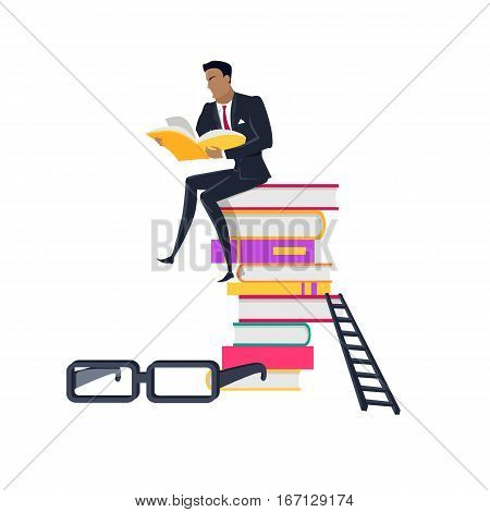 Getting on top of knowledge vector concept. Flat design. Man character in business suit seating on huge pile of books. Self-education and literature reading concept. Isolated on white background.