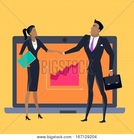 Teamwork vector concept. Flat style design. Gender equality in business. Businessman and businesswoman holding hands, laptop with growth diagram on background. Informational technologies for success.