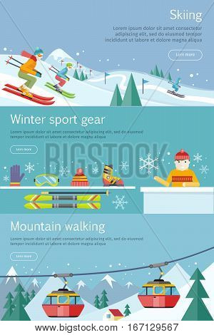 Skiing. Winter sport gear. Mountain walking banners set. Winter recreational conceptual web banners. Funicular railway, landscape, skiing equipment, skier competition. Ski lift. Vector illustration