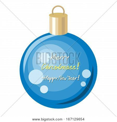 Merry Christmas and Happy New Year concept. Christmas blue ornament decoration ball made of glass, metal, wood, or ceramics used to festoon Christmas tree. Flat design. Winter holidays symbol. Vector