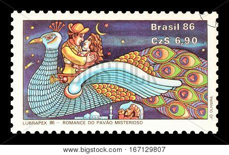 BRAZIL - CIRCA 1986 : Cancelled postage stamp printed by Brazil, that shows Fairy tale.