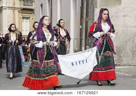 CAGLIARI, ITALY - May 1, 2013: 357 Religious Procession of Sant'Efisio, Sardinia - the parade of the folk group of Bitti