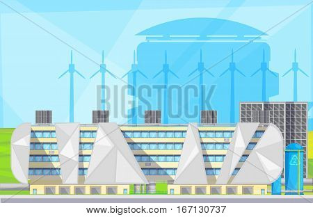 Eco friendly plant facilities with waste to energy converting converting technology using windmills flat poster vector illustration