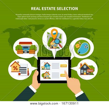 Flat design real estate online selection concept on green background with world map vector illustration