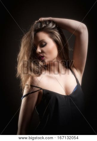 Sensual Portrait of a Teenage Girl with Long Brown Hair