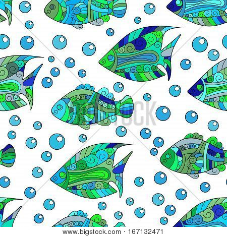 Zentangle stylized fish seamless pattern. Hand Drawn aquatic doodle vector illustration. Ocean life. Blue green colors on white background.
