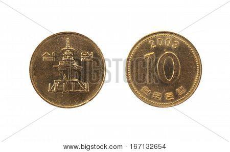 Coin 10 won KRW. South Korea .