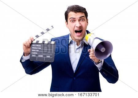 Handsome man with movie clapper isolated on white