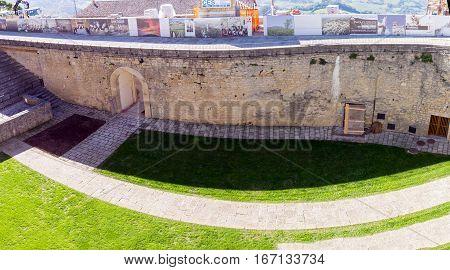 San Marino. San Marino Republic - November 06 2015: In courtyard of fortress Guaita on Mount Titan