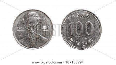 Coin 100 South Korean won 1996 year