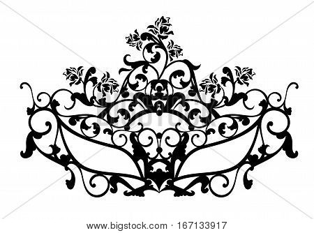 elegant carnival mask with rose flowers for masquerade ball - black and white vector design